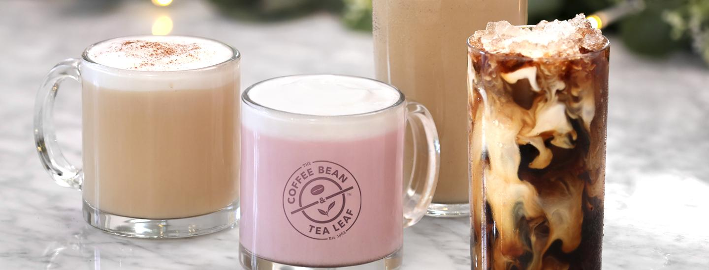 Holiday Beverages: Winter Dream Tea, Red Velvet Hot Cocoa, Cookie Butter Ice Blended Drink, Peppermint Mocha Cold Brew