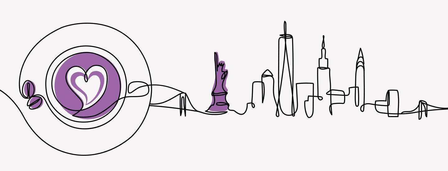 Illustration of New York Skyline and a Cup of Coffee