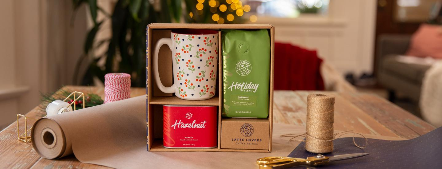 holiday blend gift set with festive mug and hazelnut powder