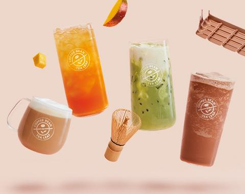 Lightened Vanilla Latte, Lightened Mango Cold Brew Tea, Lightened Iced Matcha Latte, Lightened Mocha Ice Blended® drink