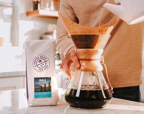 bali coffee on a kitchen counter in a pour over brewer