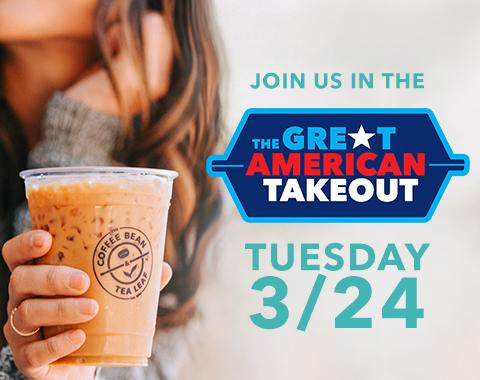 Female drinking a latte promoting The Great American Takeout