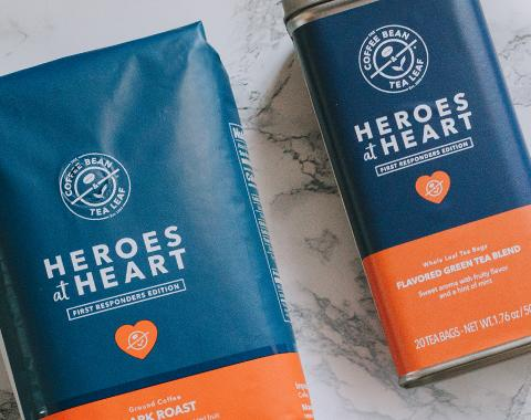 Heroes at Heart coffee bag and tea tin