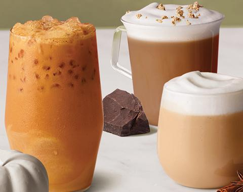 Pumpkin Spiced Iced Latte, Dark Chocolate Chai Latte, and Chai Latte