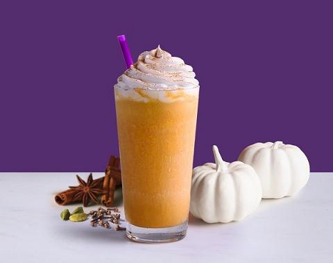 pumpkin flavored treats for fall featuring a pumpkin chai ice blended drink
