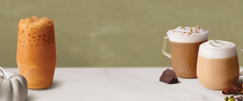 Pumpkin Spiced Chai Iced Latte, Dark Chocolate Chai Latte, Chai Latte