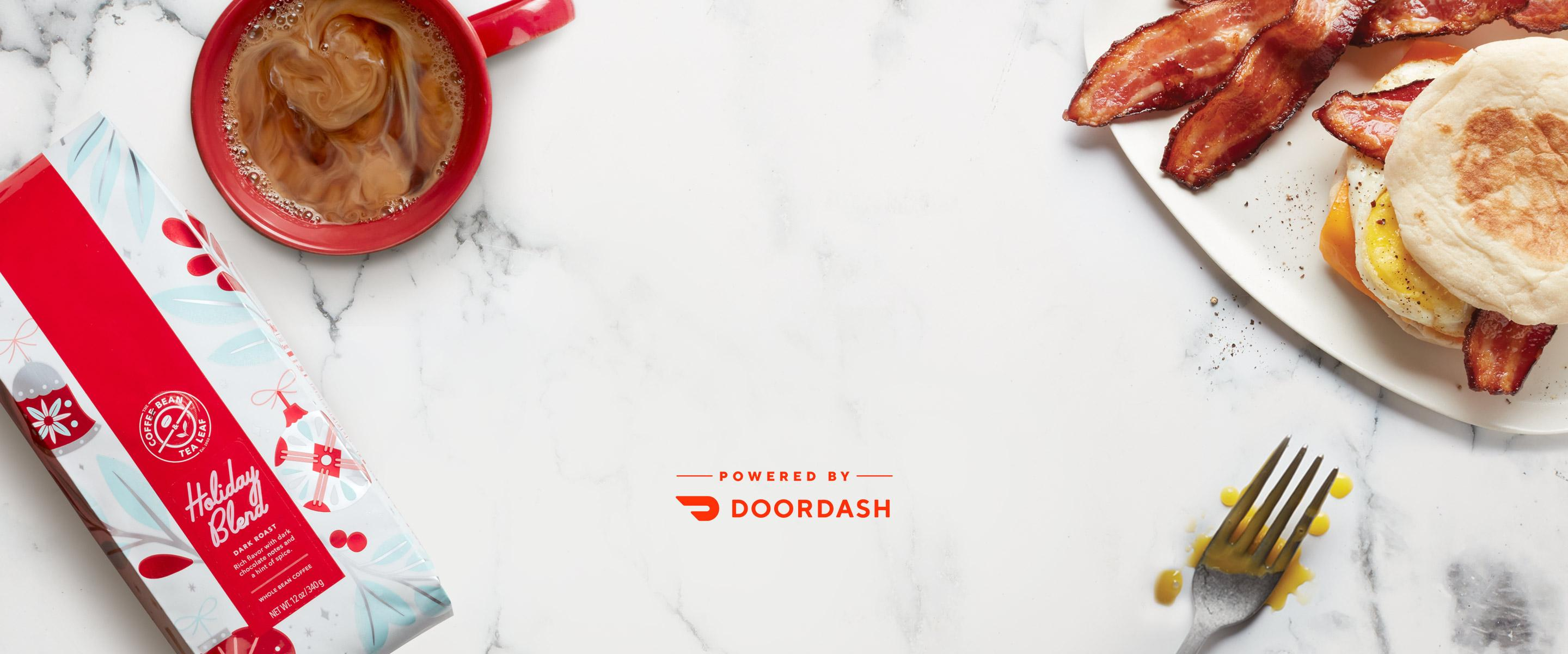 Free Delivery holiday coffee and breakfast sandwich