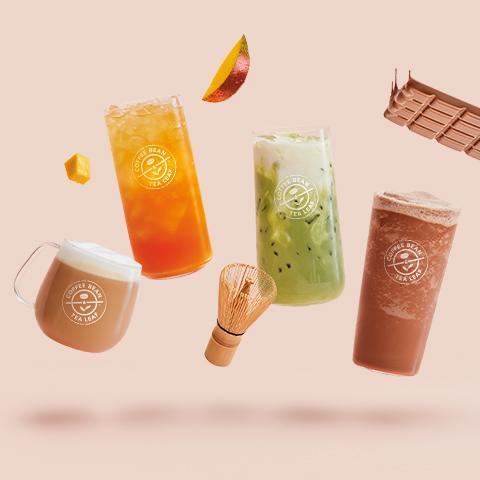 Lightened Vanilla Latte, Lightened Mango Cold Brew Tea, Lightened Iced Matcha Latte, Lightened Mocha Ice Blended® drink